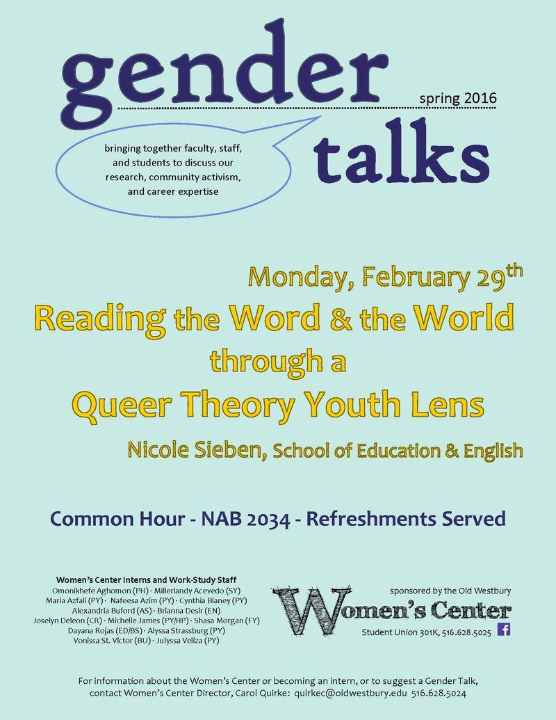 Flyer for Gender Talk with Dr Sieben