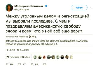 Margarita Simonyan Tweet